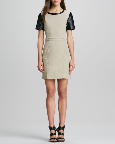 Dempsey Leather-Sleeve Dress