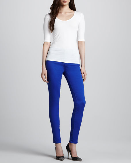 Maria Power-Stretch High-Rise Jeans, Iris