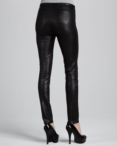Leather Leggings with Elastic Waist