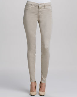 J Brand Jeans Super Skinny Mid-Rise Jeans, Travertine