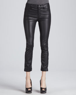 J Brand Jeans Anja Cuffed Leather Skinny Pants