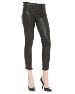 J Brand Jeans Bonded Stud Leather Cropped Pants