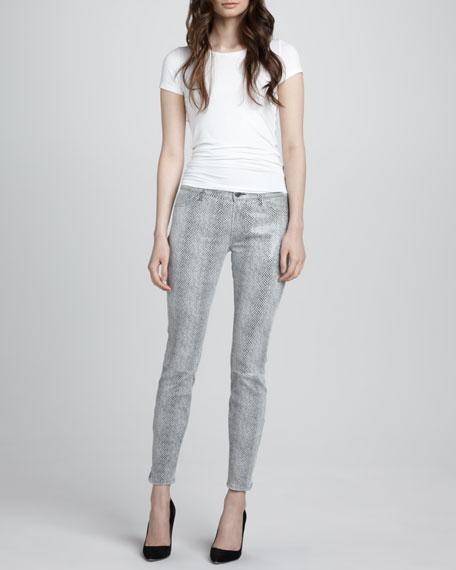 Metallic Python-Print Suede Skinny Pants