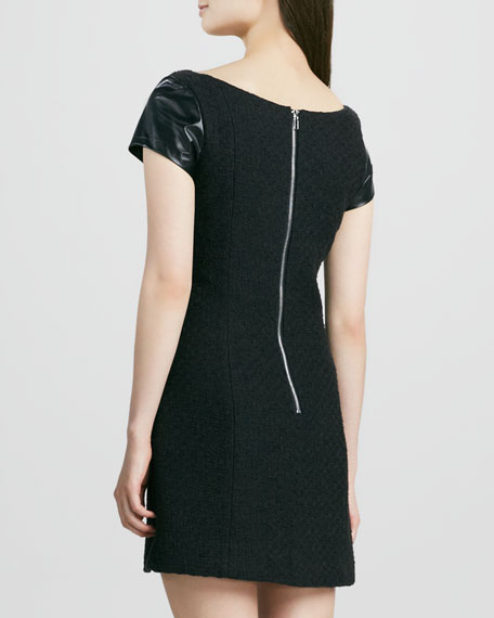 Milla Dress with Leather Sleeves