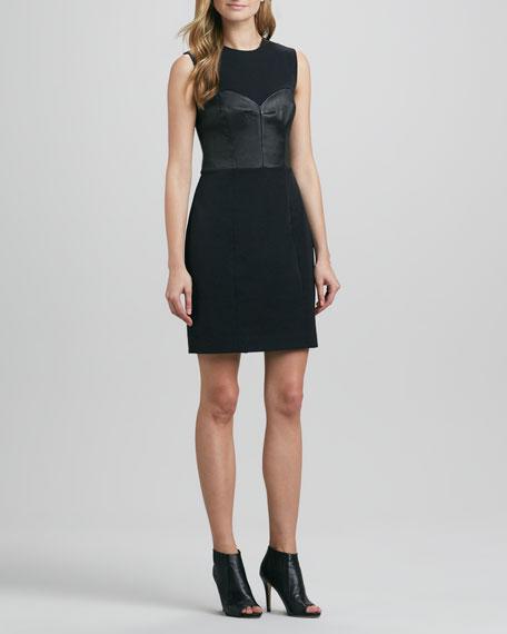 Lisa Crepe & Leather Dress