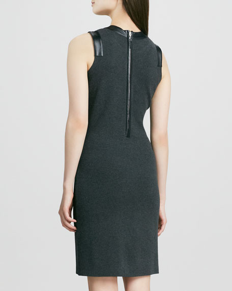 Samantha Dress with Leather Trim