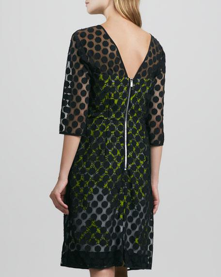 Elise Dot-Overlay Dress