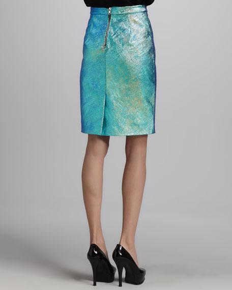 Iridescent Leather Pencil Skirt