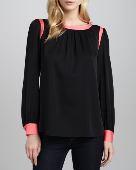 Bow-Back Charmeuse Blouse
