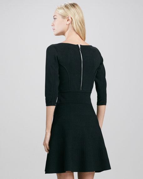 V-Neck Stretch Flare Dress