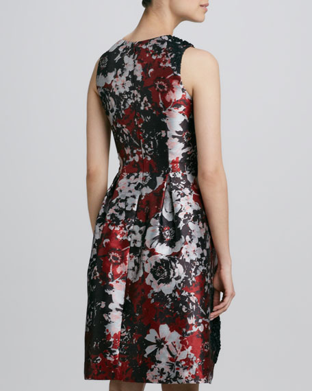 Printed Embroidered Cocktail Dress