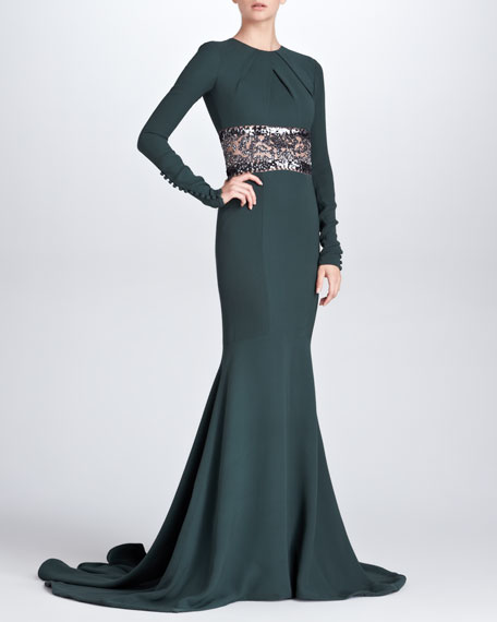 Long-Sleeve Embroidered Mermaid Gown