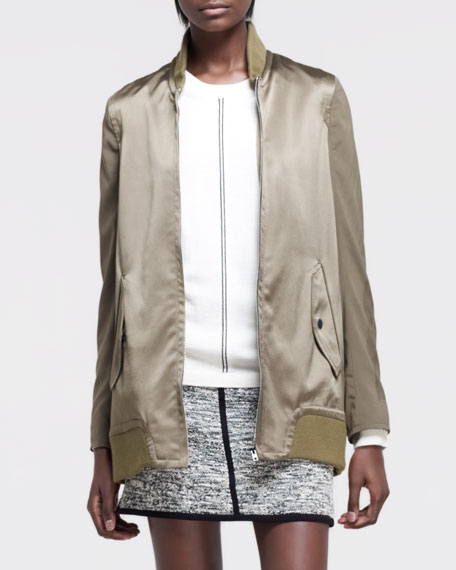 Pacific Knit-Trim Satin Jacket