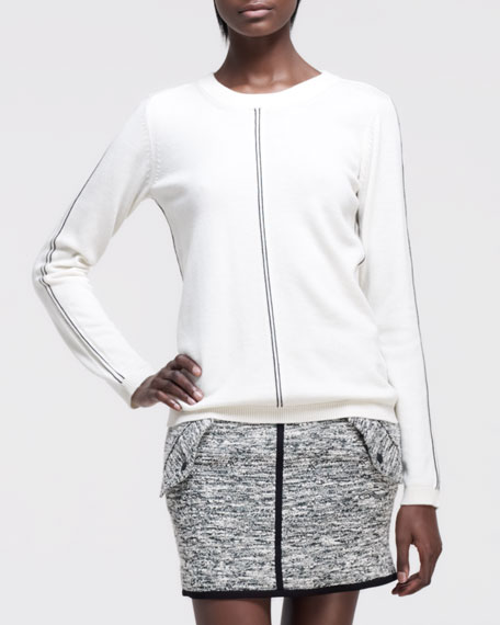 Briana Contrast-Detail Sweater