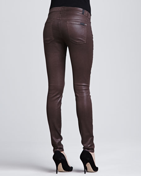 High-Shine Gummy Skinny Jeans
