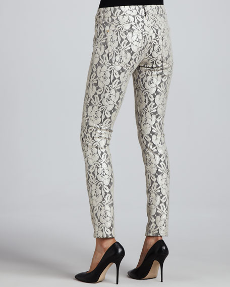 The Skinny Orchid Lace-Overlay Skinny Jeans