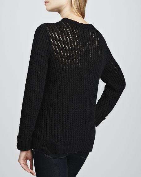 Hand-Knit Skull Crewneck Sweater