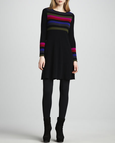 Striped Flared Cashmere Dress