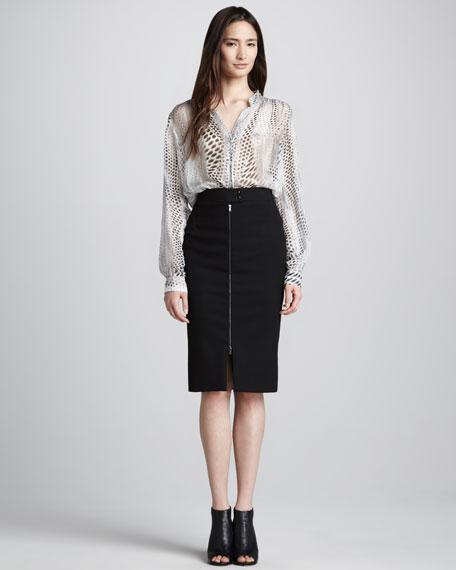 Front-Zip Pencil Skirt