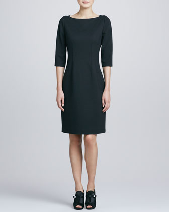 Davis Princess-Seam Sheath Dress, Black