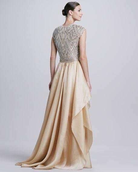 Beaded-Bodice Ruffle-Skirt Ball Gown