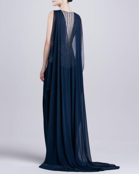 Deep-V-Neck Beaded-Bodice Gown