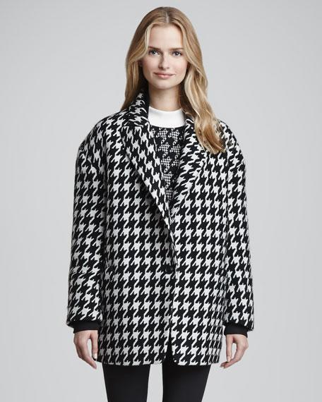 Danvey Houndstooth Cocoon Coat