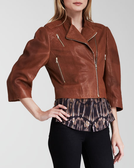 Constance Cropped Leather Jacket