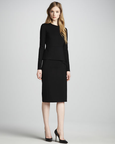 Williams Long-Sleeve Peplum Dress
