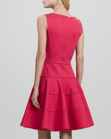 Sleeveless Ponte Fit-and-Flare Dress