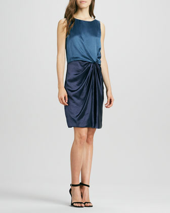 Sleeveless Colorblock Draped Dress
