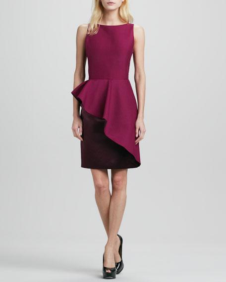 Sleeveless Ruffle-Skirt Colorblock Dress