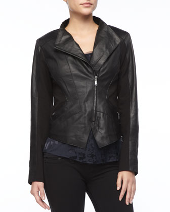 Viola Asymmetric-Zip Leather Jacket