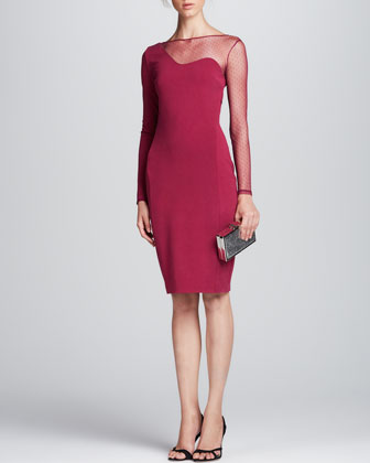 Mesh-Illusion Ponte Sheath Dress