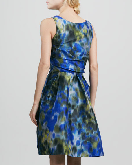 Printed Asymmetric-Bow Dress