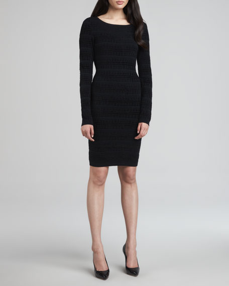 Tabitha Fitted Long-Sleeve Chenille Dress