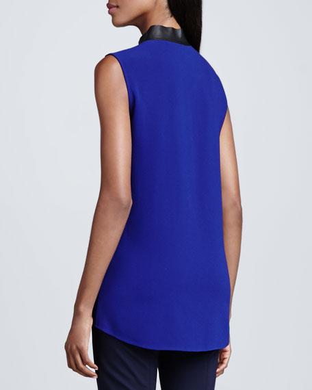 Tiffany Sleeveless Leather-Trim Blouse, Blue