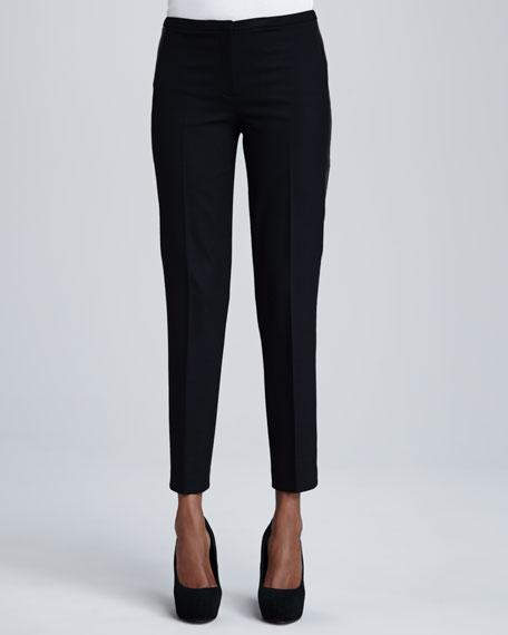 Jillian Leather-Trim Pants