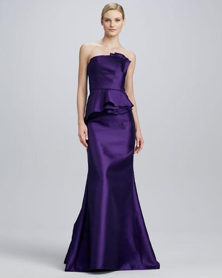 Strapless Satin Peplum Gown, Purple