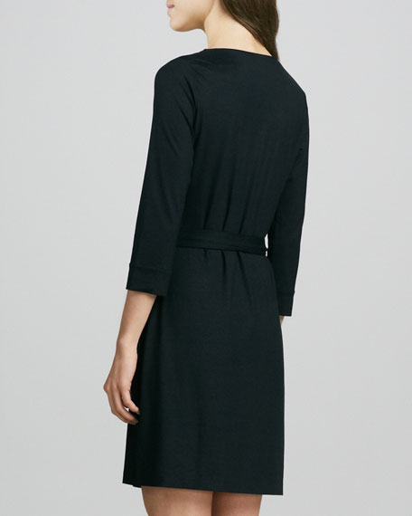 New Julian Two Mini Wrap Dress, Black