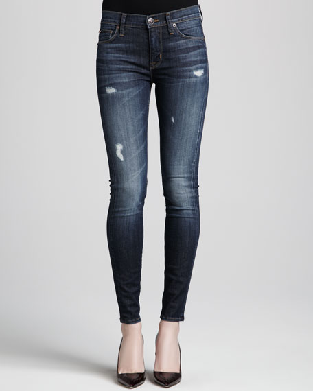 Nico Distressed Mid-Rise Skinny Jeans