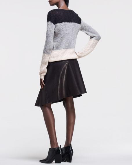 Asymmetric Faux-Leather Skirt