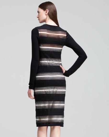 Long-Sleeve Sheer-Stripe Dress