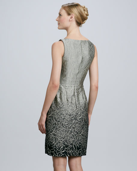 Jacquard Dress with Ombre-Effect Shading