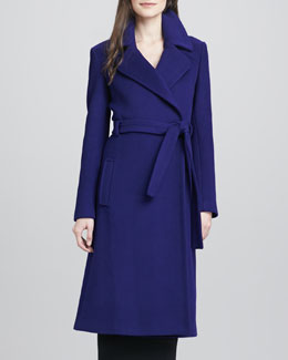 Diane von Furstenberg Michaele Belted Wool-Blend Long Coat