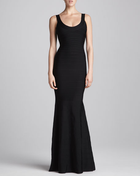 Herve Leger Scoop-Neck Bandage Mermaid Gown
