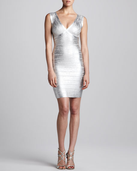 Combo V-Neck Bandage Dress, Silver