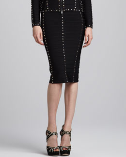 Herve Leger Stud-Trim Bandage Pencil Skirt