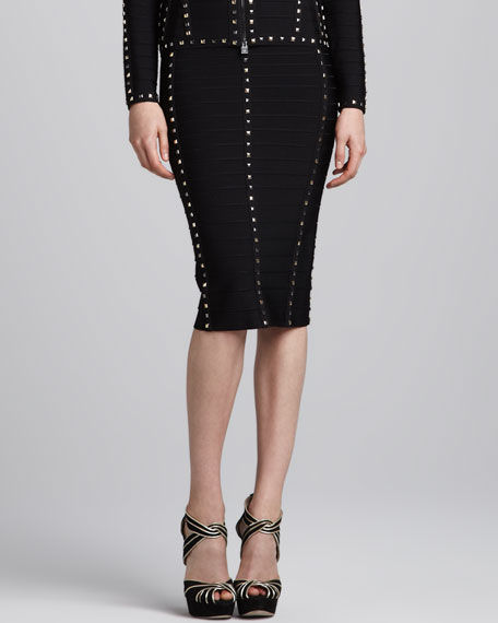 Stud-Trim Bandage Pencil Skirt