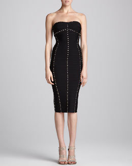 Herve Leger Studded Strapless Dress